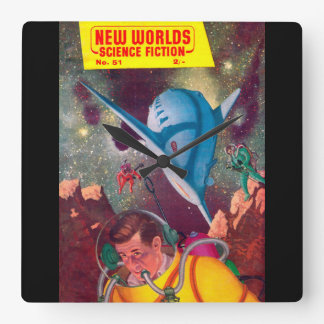 New Worlds 51_Pulp Art Square Wall Clock