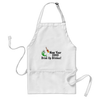 New Year 2010 Fish And Beer Adult Apron