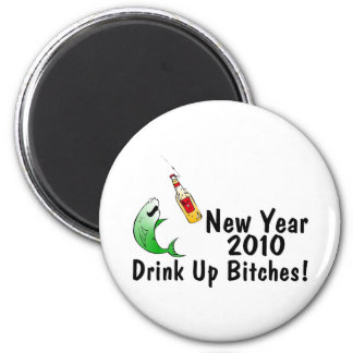 New Year 2010 Fish And Beer Magnet