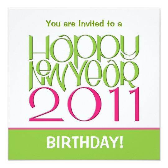 New Year 2011 pink green Birthday Invitation