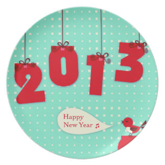 """New Year 2013 """"New Year's"""" Goodbye 2012 Cute Plate"""