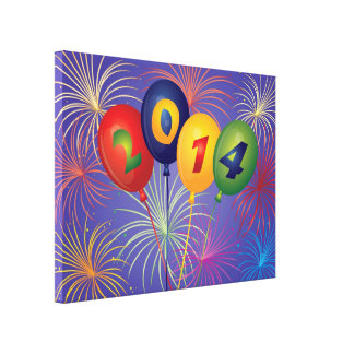 New Year 2014 Balloons with Fireworks Canvas Print