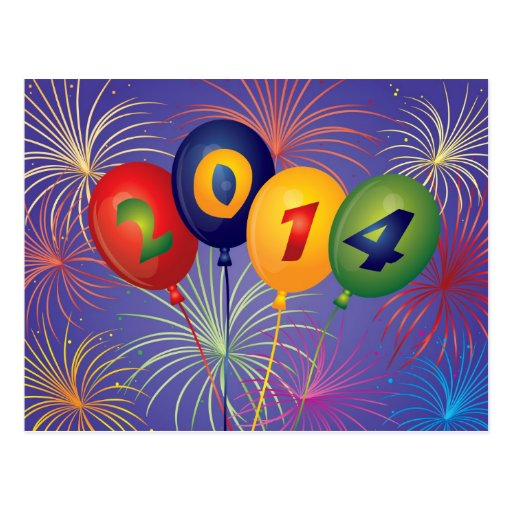 New Year 2014 Balloons with Fireworks Postcard