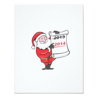 New Year 2014 Santa Claus Scroll Sign 4.25x5.5 Paper Invitation Card