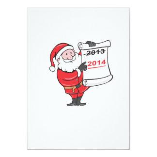 New Year 2014 Santa Claus Scroll Sign 4.5x6.25 Paper Invitation Card