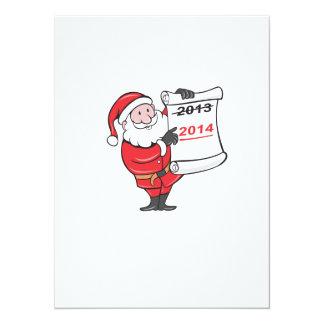 New Year 2014 Santa Claus Scroll Sign 5.5x7.5 Paper Invitation Card