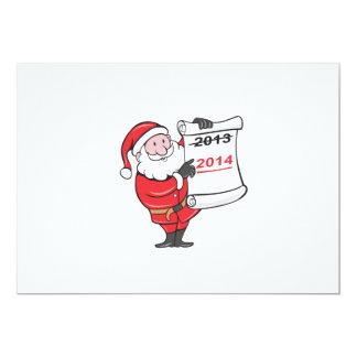 New Year 2014 Santa Claus Scroll Sign 5x7 Paper Invitation Card