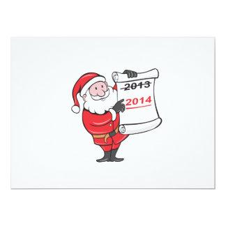 New Year 2014 Santa Claus Scroll Sign 6.5x8.75 Paper Invitation Card
