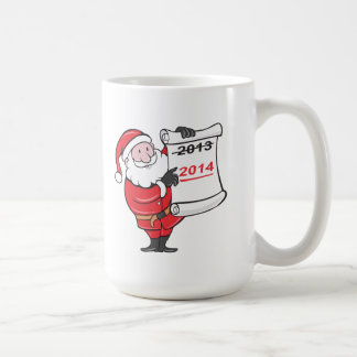 New Year 2014 Santa Claus Scroll Sign Classic White Coffee Mug
