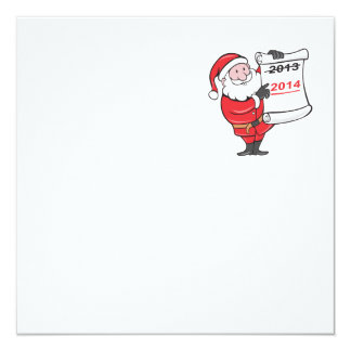 New Year 2014 Santa Claus Scroll Sign Invitation