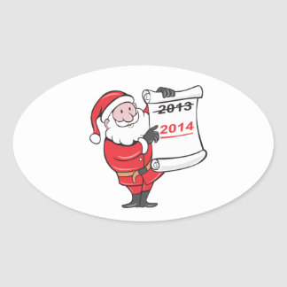 New Year 2014 Santa Claus Scroll Sign Oval Sticker