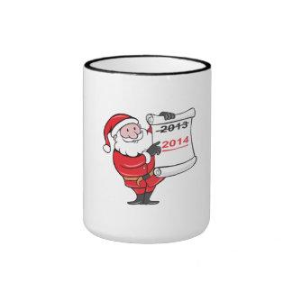 New Year 2014 Santa Claus Scroll Sign Ringer Coffee Mug