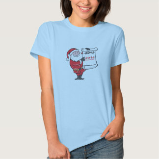 New Year 2014 Santa Claus Scroll Sign T Shirt