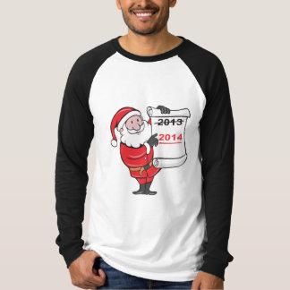 New Year 2014 Santa Claus Scroll Sign Tee Shirts
