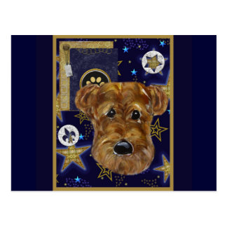 NEW YEAR AIREDALE POSTCARD