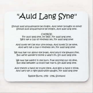 "New Year ""Auld Lang Syne"" Mousemat Mouse Pad"