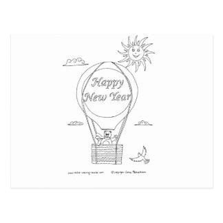 New Year Balloon Postcard