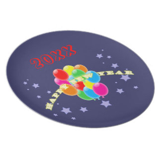 New Year Balloons Plate Template