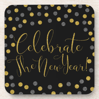 New Year - Black and Gold Celebrate New Year Coaster
