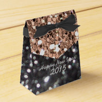 New Year Black and Gold Glitter Pattern Favor Box