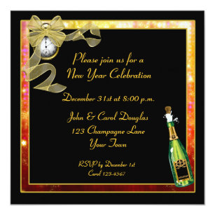 new year black gold champagne invitation