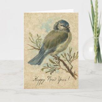 New Year, Bluetit Vintage Bird card
