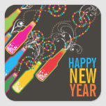 New Year Bubbly Bottles Party Celebration Gift Tag Square Sticker