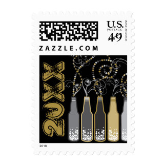 New Year Bubbly Bottles Party Celebration Stamps