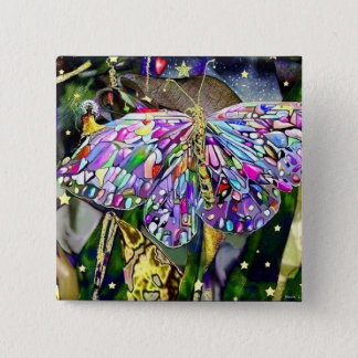 New Year Butterfly, magnet Button