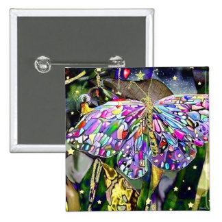 New Year Butterfly, magnet 2 Inch Square Button