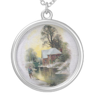New Year By the Old Mill Stream Round Pendant Necklace