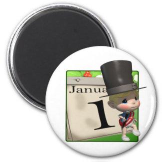 New Year Calendar 2 Inch Round Magnet