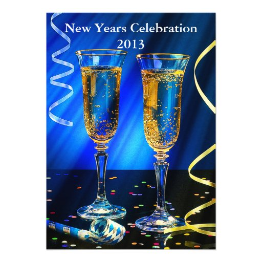 New Year Champagne Toast Personalized Announcements