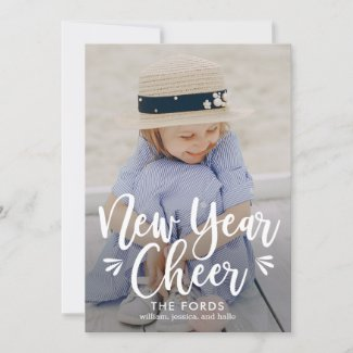 New Year Cheer EDITABLE Back Color New Year Card