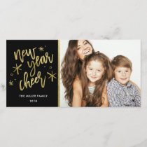 New Year Cheer Gold Foil Holiday Photo Card