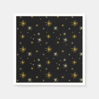 New Year Cheers Gold Starburst Chic Holiday Party Paper Napkin