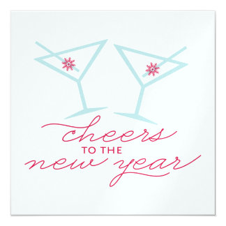 New Year Cheers Pearl Shimmer Square Greetings Card