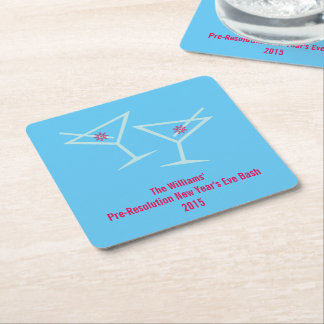 New Year Cheers (Personalized) Square Paper Coaster