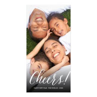 New Year Cheers Script Modern Holiday Photo Card