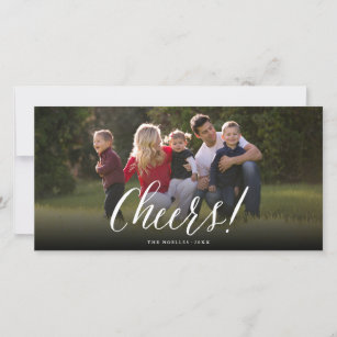 new year cheers simple script holiday photo card