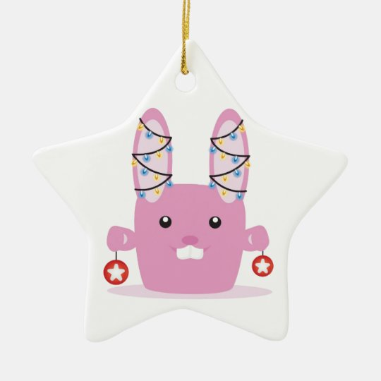 New year / Christmas bunny Ceramic Ornament