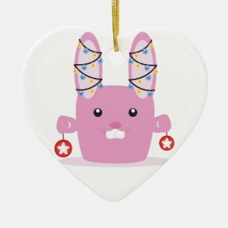 New year / Christmas bunny Double-Sided Heart Ceramic Christmas Ornament