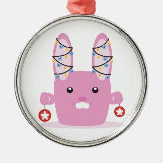 New year / Christmas bunny Round Metal Christmas Ornament