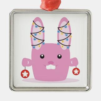 New year / Christmas bunny Square Metal Christmas Ornament