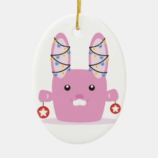 New year / Christmas bunny Double-Sided Oval Ceramic Christmas Ornament