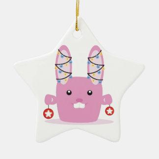New year / Christmas bunny Double-Sided Star Ceramic Christmas Ornament