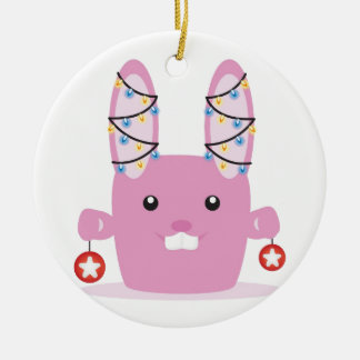 New year / Christmas bunny Double-Sided Ceramic Round Christmas Ornament