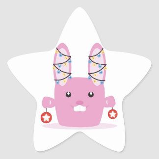 New year / Christmas bunny Star Sticker