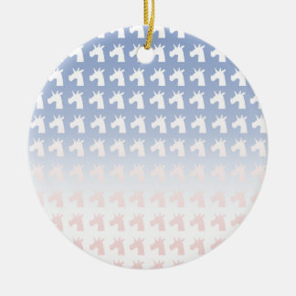 New Year, Colors, Unicorns Ceramic Ornament