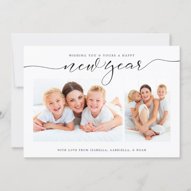 New Year Confetti Two Photo Holiday Card